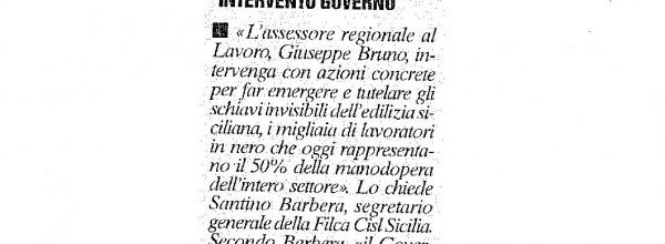 FILCA CISL CHIEDE INTERVENTO GOVERNO