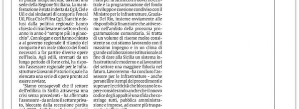 """Edili siciliani in piazza: """"Seimila aziende chiuse"""""""
